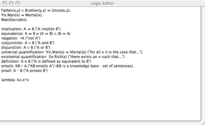 A little logic notation editor screenshoot