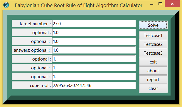 Babylonian Cube Root Rule of Eight Algorithm and eTCL demo example calculator screenshoot png