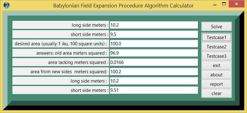 Babylonian Field Expansion Procedure Algorithm and eTCL demo example calculator screenshot