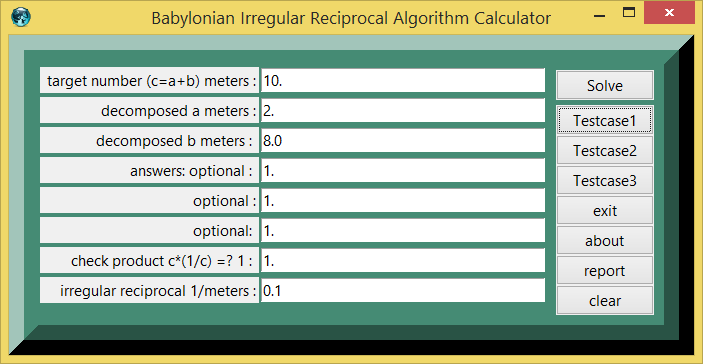 Babylonian Irregular Reciprocal Algorithm and eTCL demo example calculator screenshot