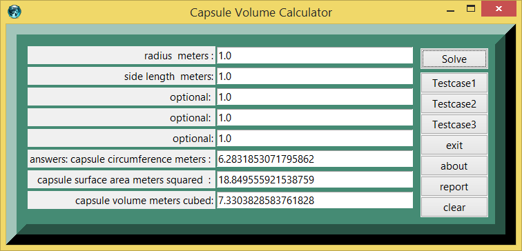 Capsule Surface Area & Volume and eTCL demo example screenshot