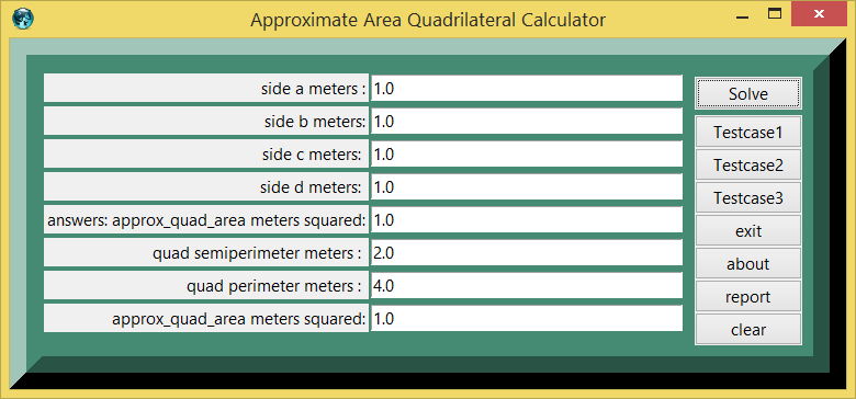 Sumerian Approximate Area Quadrilateral and eTCL Slot Calculator screenshot
